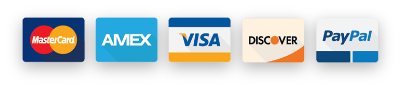 Payment Types: MasterCard, AMEX, Discover, PayPal